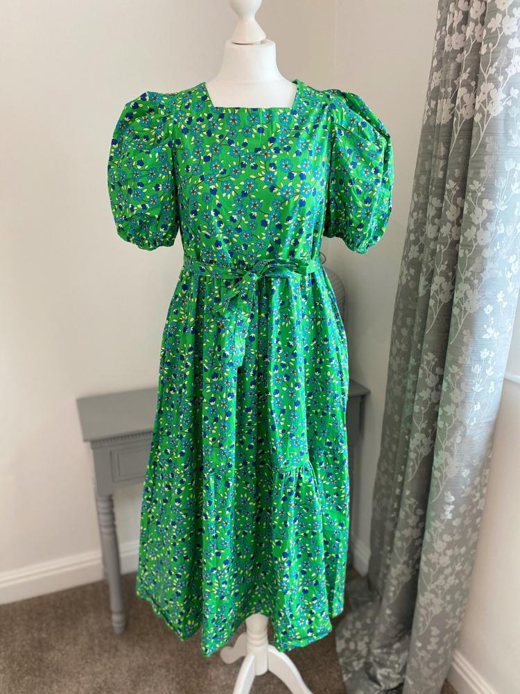 Green Floral Cotton Puff Sleeve Dress