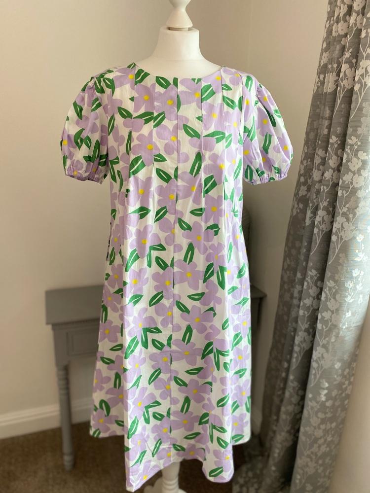 Lilac & Green Floral Cotton Summer Dress