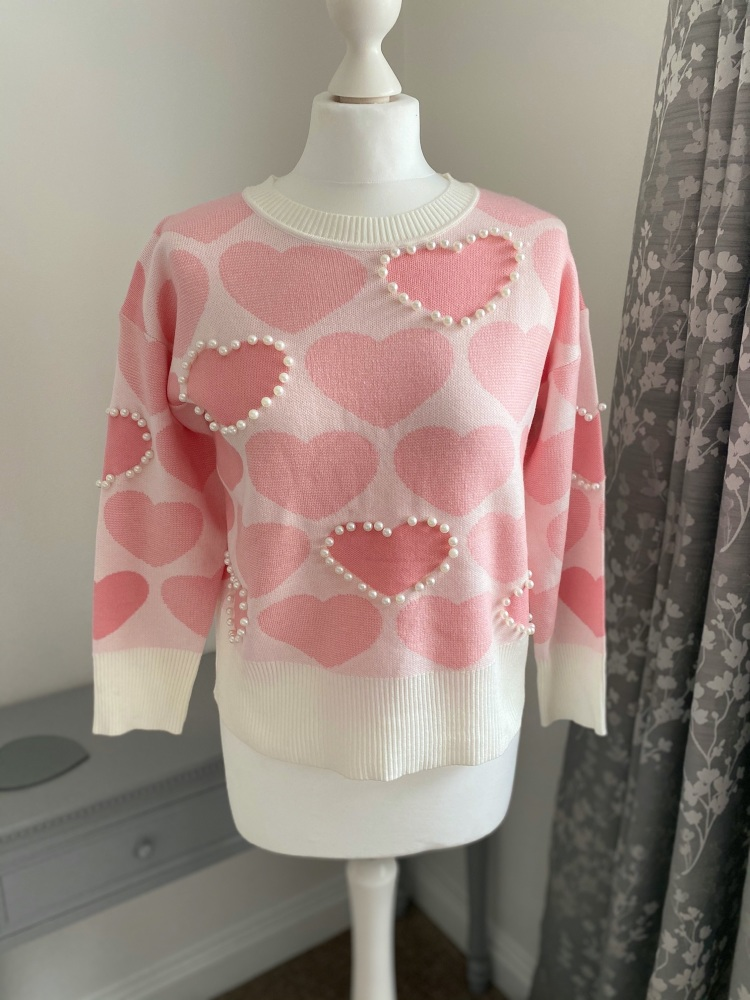 Pink Heart & Pearl Detail Jumper
