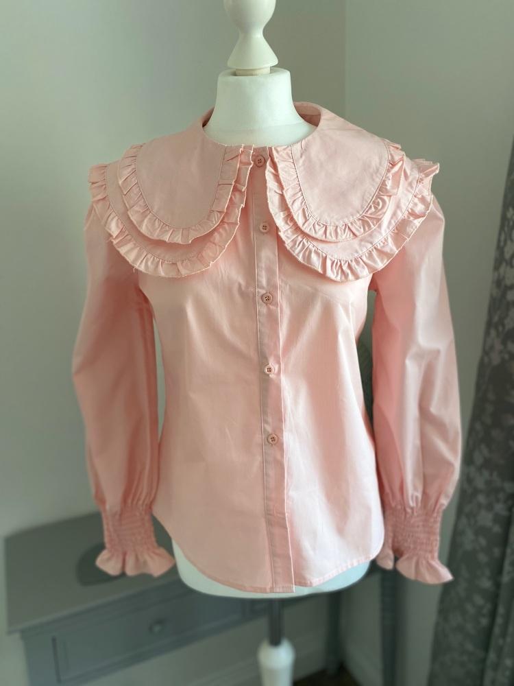Pink Double Peter Pan Collar Cotton Shirt