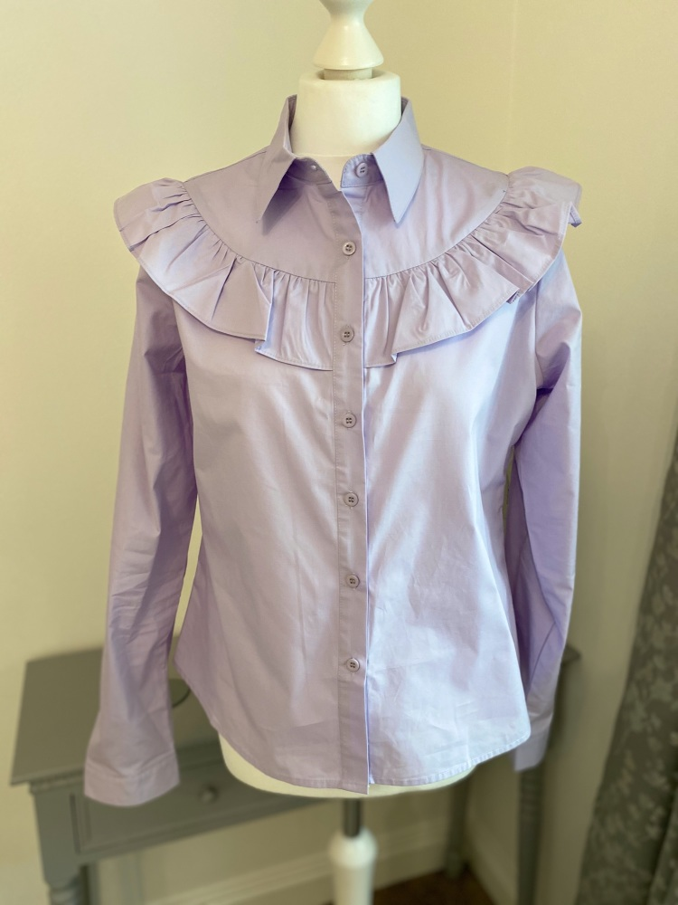 Lilac Ruffle Front Cotton Shirt