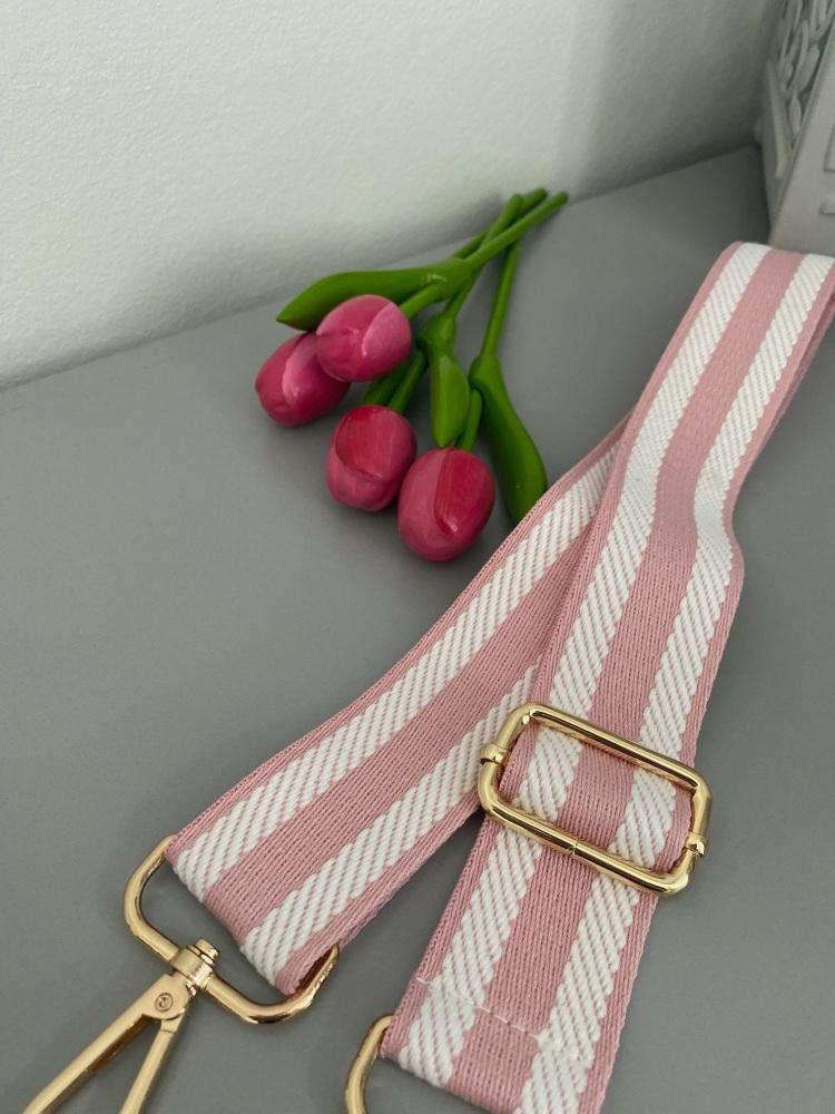 Pink & White stripe high quality bag strap