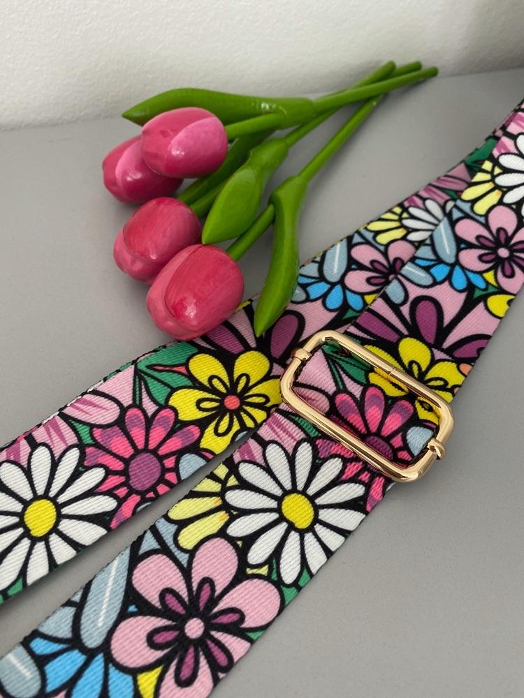 Retro Print Floral Bag Strap