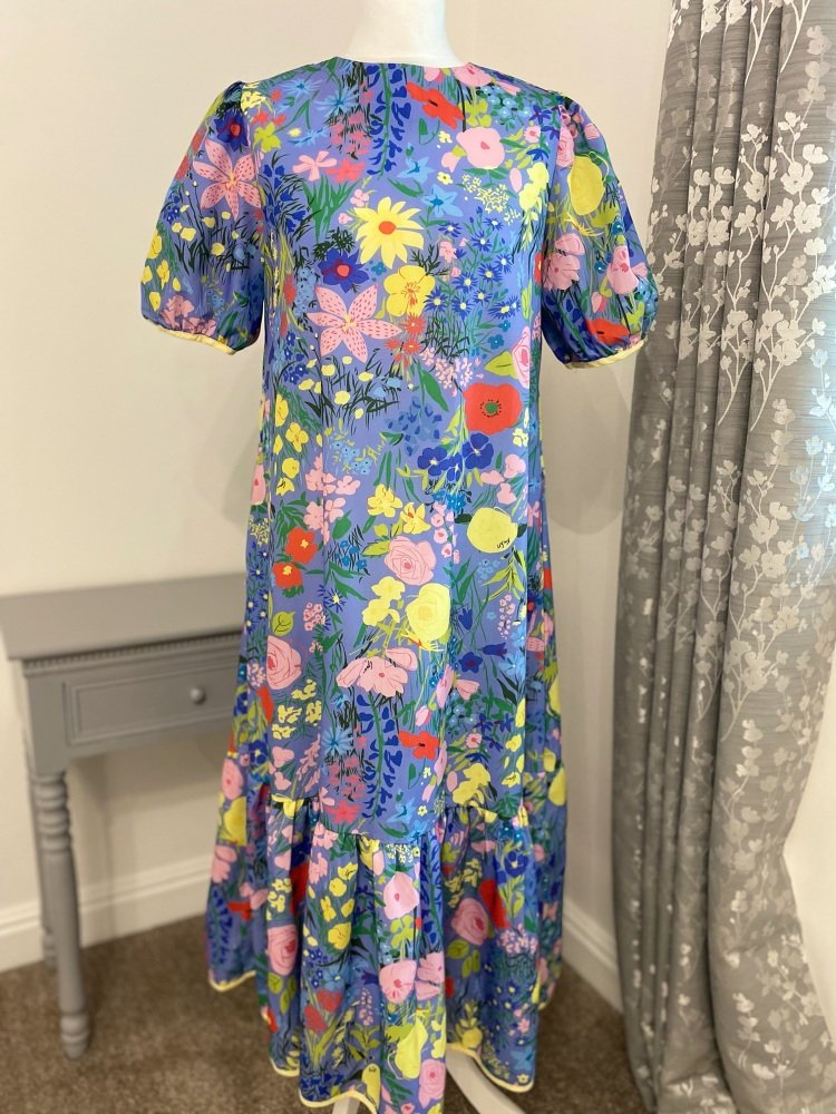 Blue & Yellow Floral Puff Sleeve Dress