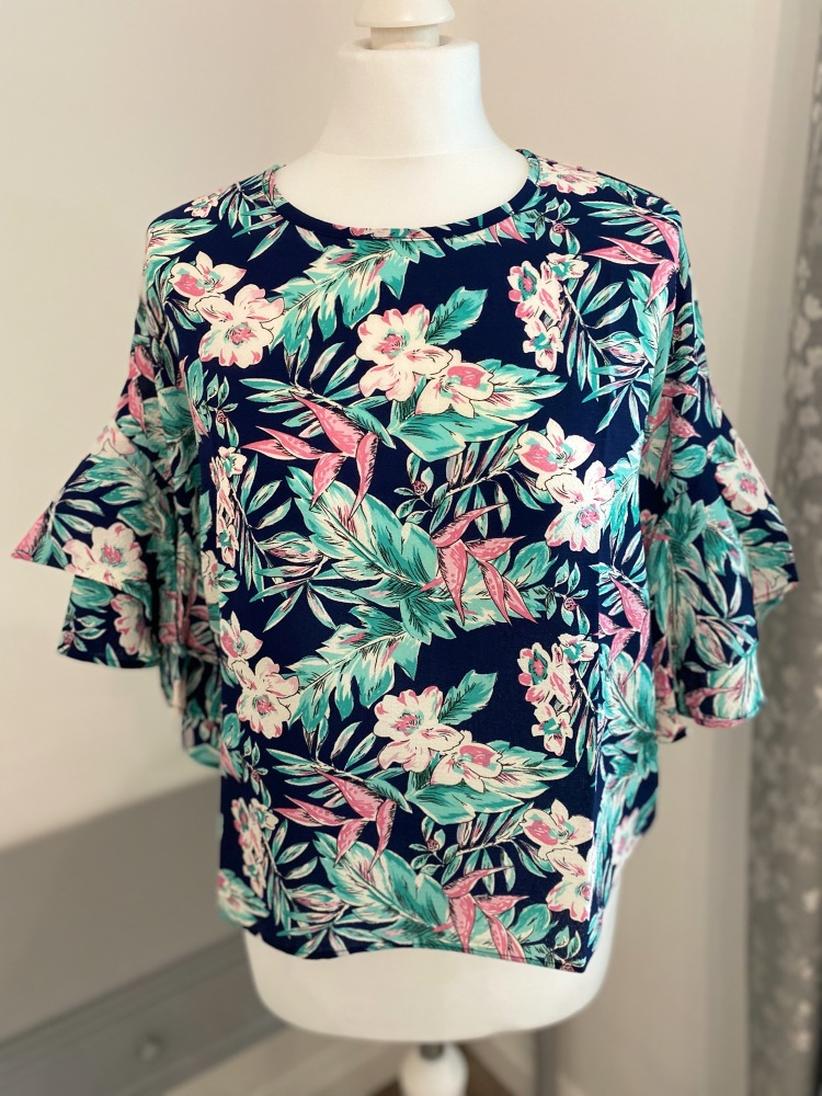 Navy Floral Frill Sleeve Blouse