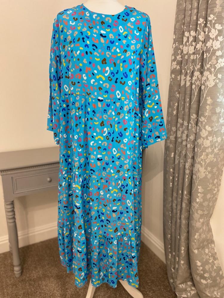 Blue Jelly Bean Tiered Maxi Dress