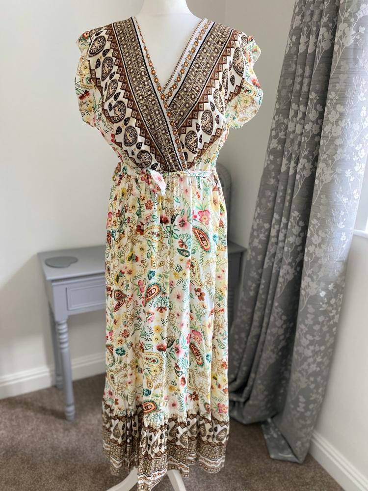 Cream floral wrap front midi dress