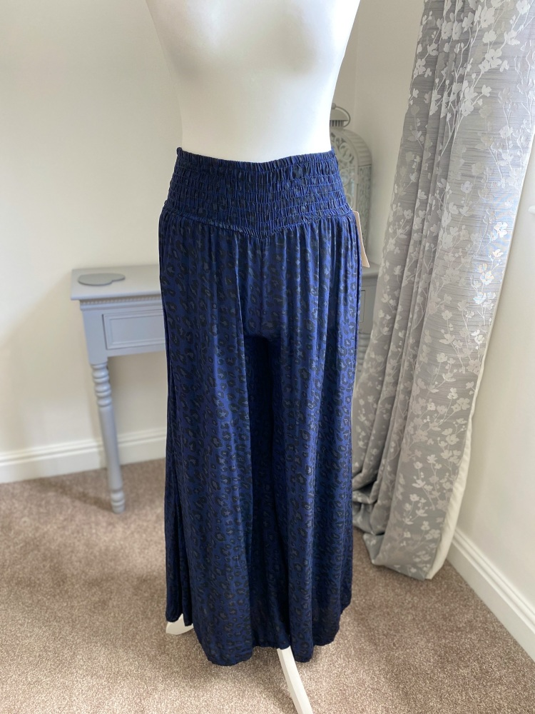 Navy Blue Leopard Print Palazzo Style Culottes
