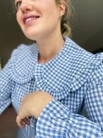 Pale blue gingham Peter Pan collar shirt