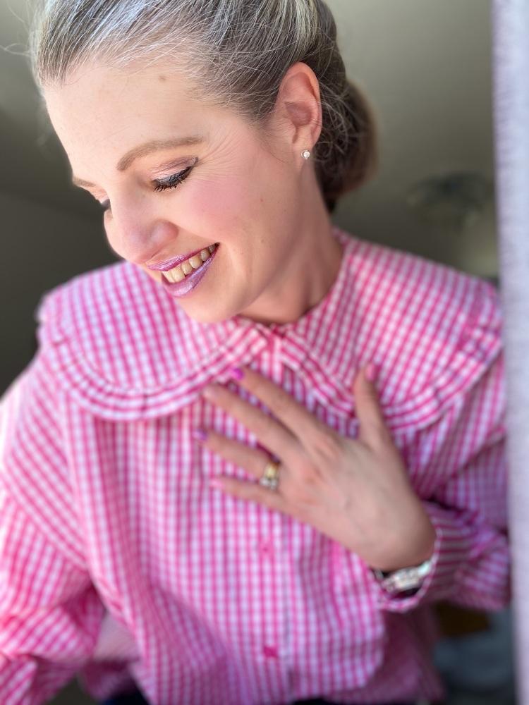 Pink Gingham Peter Pan Collar Shirt