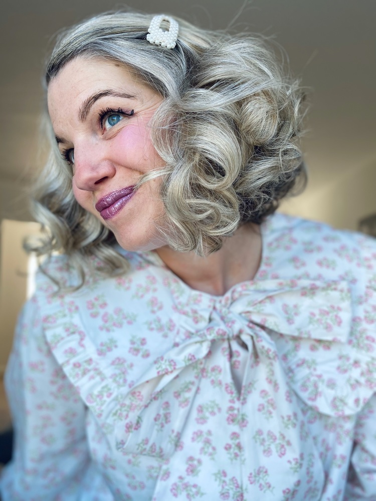 Pussy Bow Cream Floral Peter Pan Collar Blouse