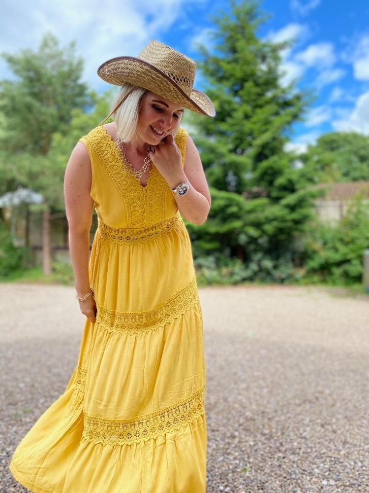 Sunflower Yellow Boho Style Maxi Dress