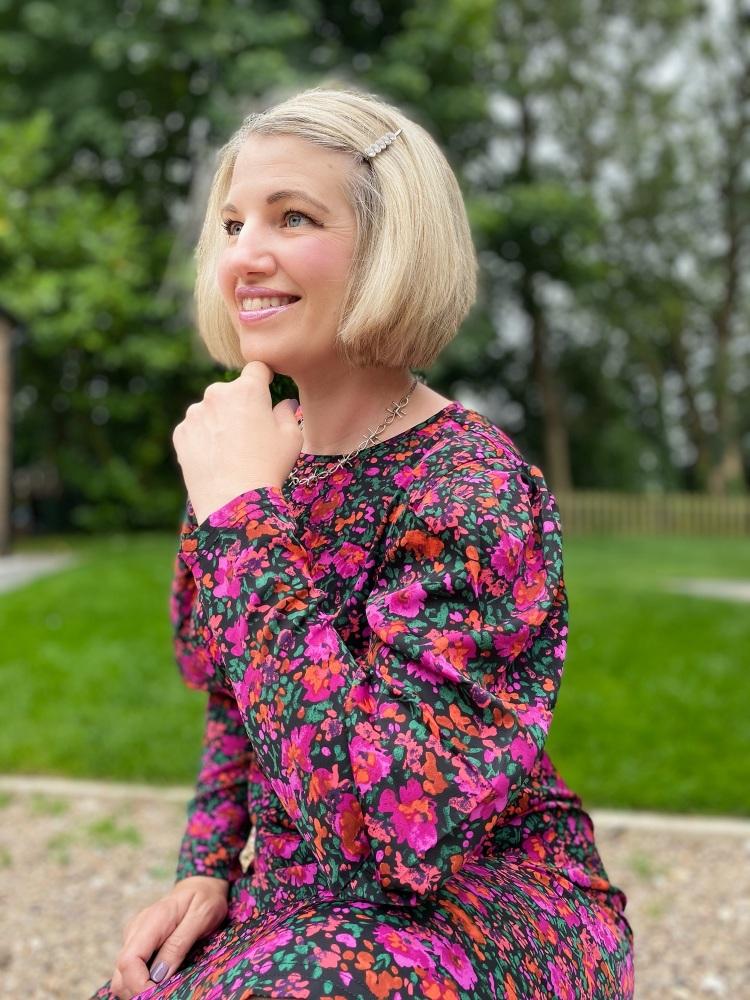 Midi Floral Statement Sleeve Dress