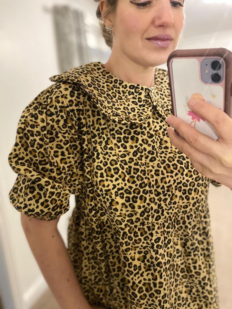 Leopard Print Peter Pan Collar Puff Sleeve Dress