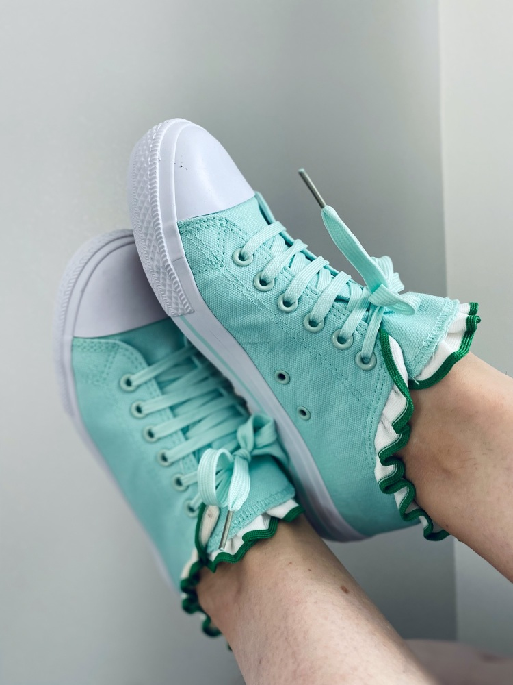 Green Frill Summer Lace-up Pumps