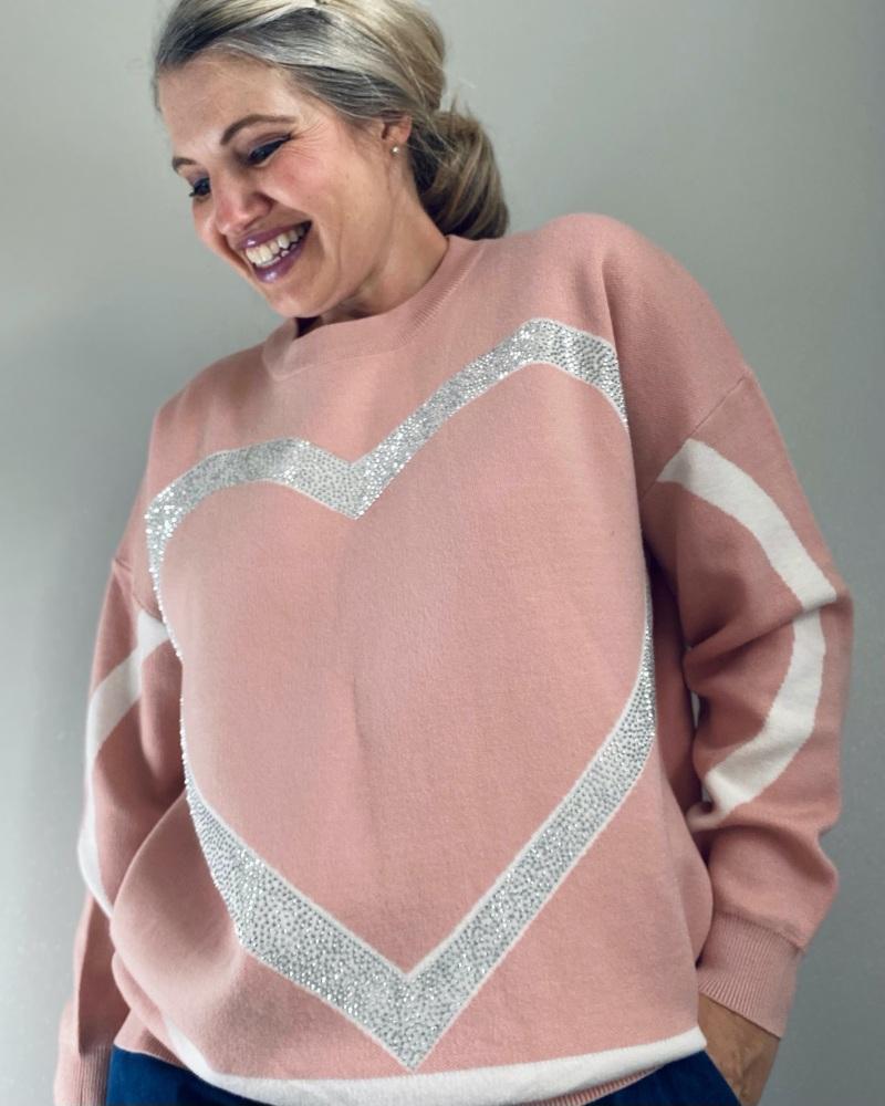 Pink Sparkle Heart Pattern Jumper