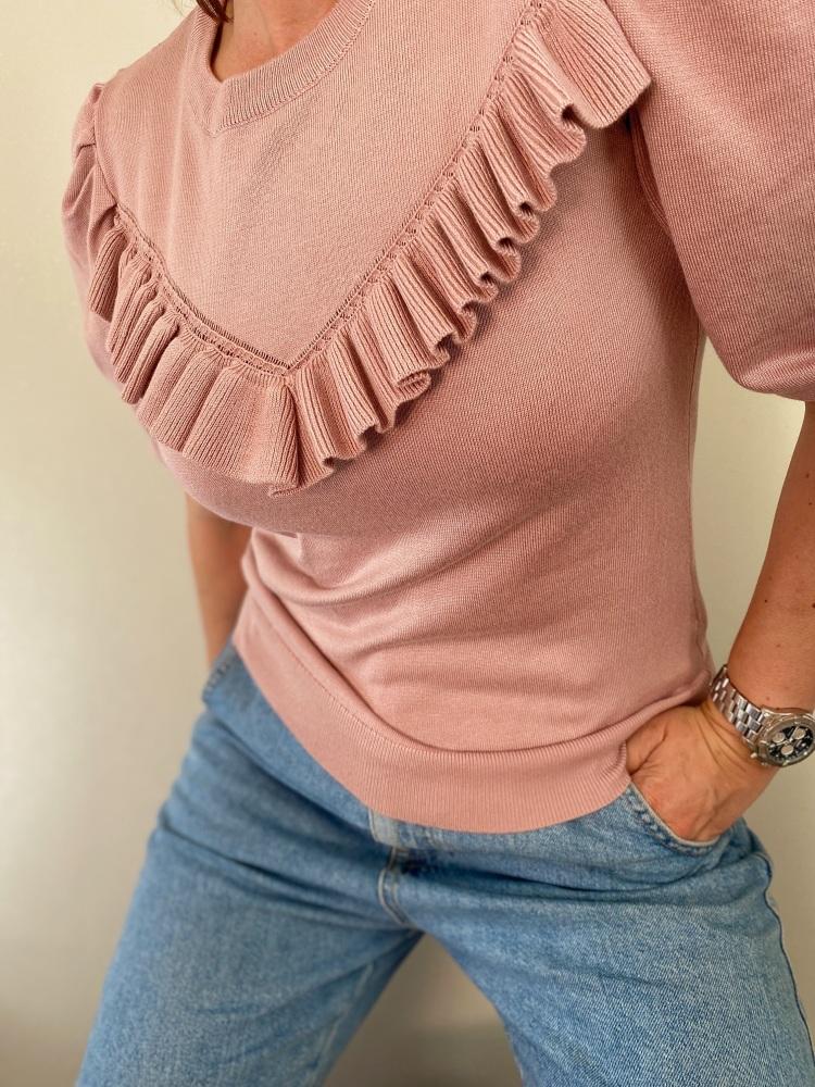 Short Sleeve Pink Frill Fine Knitted Jumper