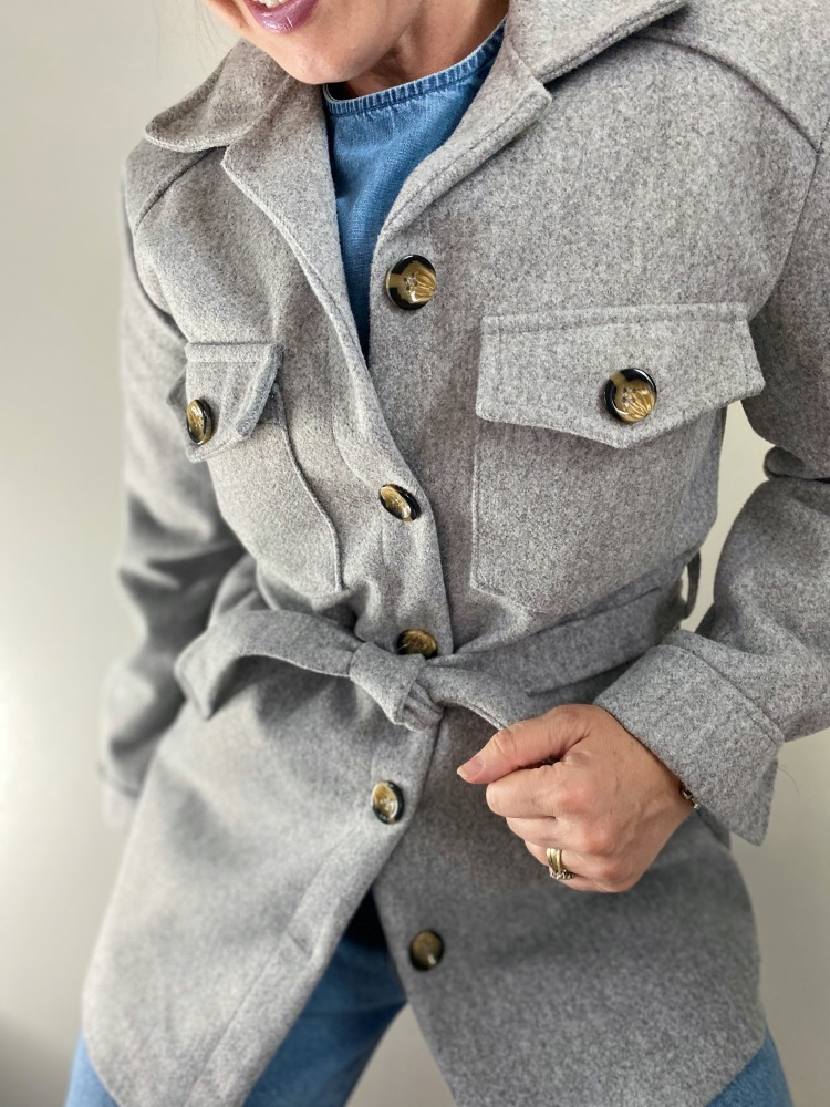 Grey lightweight belted shacket / shirt jacket