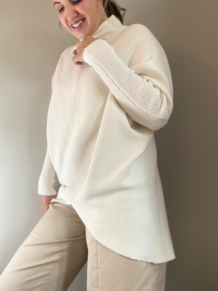 Cream Long V-Front Cosy Knit Jumper