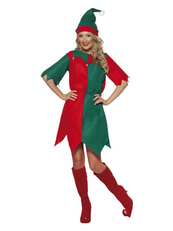 Adult Elf Costume Ladies Christmas Fancy Dress Womens Xmas Outfit UK 8-22