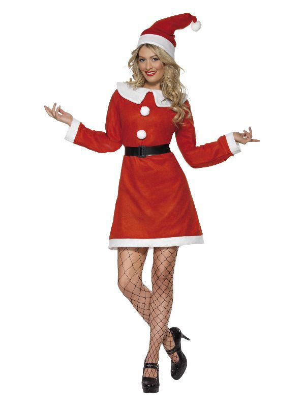 Miss Santa Christmas Costume + Hat Ladies Father Xmas Fancy Dress Outfit