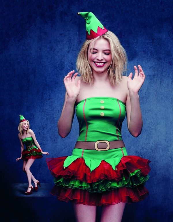 Fever Elf Costume, Green with Tutu Dress  Xmas Fancy Dress Outfit