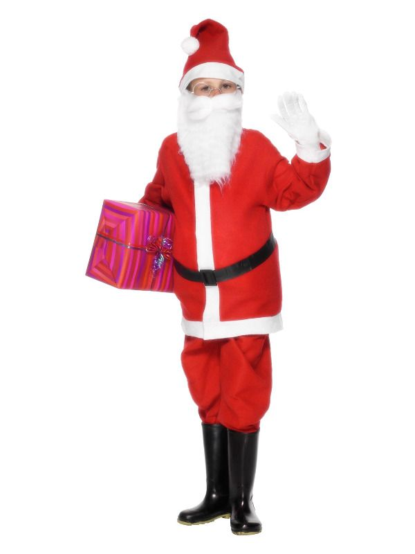 Boys Value Santa Claus Costume Christmas Xmas Fancy Dress Outfit