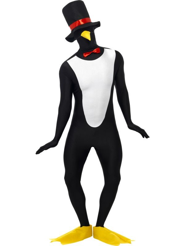 Christmas Fancy Dress Adult Penguin Butler Second Skin Costume Stretch Suit
