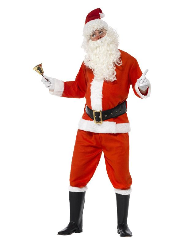 Deluxe Santa Costume Red Men's Fancy Dress Medium Outfit Father Xmas