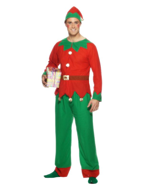 Mens Elf Costume Santas Helper Christmas Xmas Adult Fancy Dress