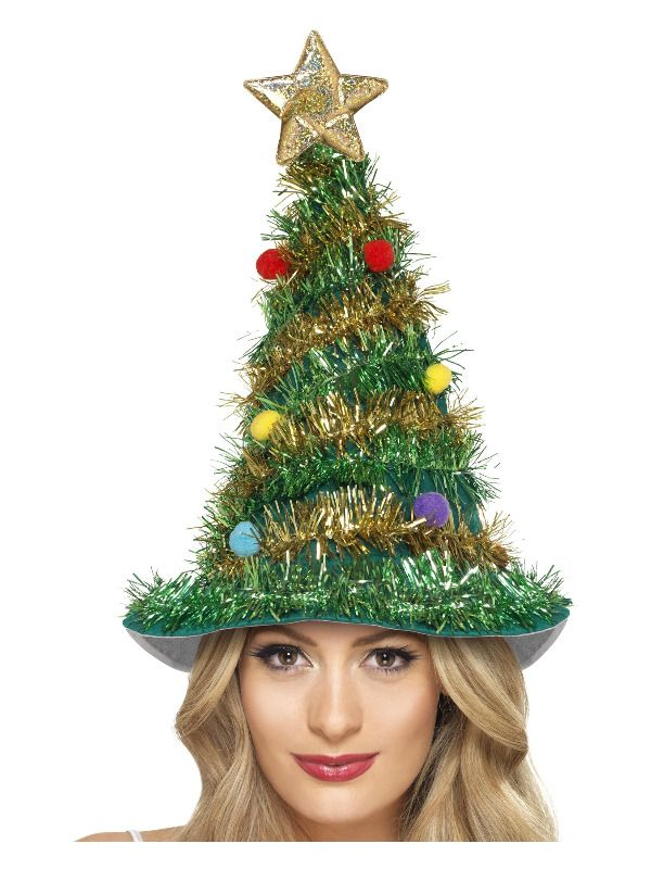 Green Christmas Tree Hat with Gold Star & Tinsel Womens Ladies Mens Fancy Dress