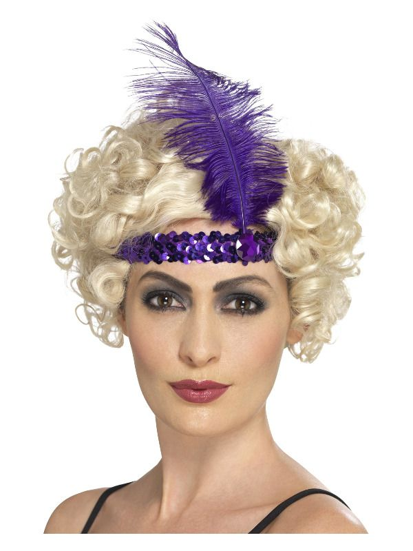 1920s Flapper Headband, Purple, with Feather
