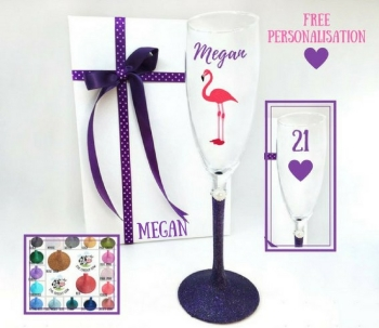 21st Champagne Glass Flamingo