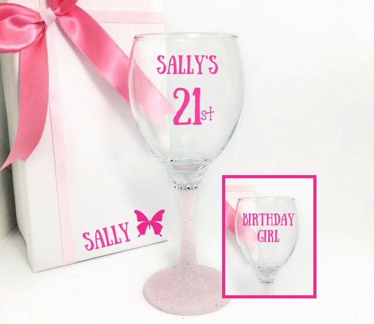 21st birthday glasses for her