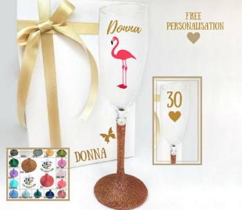 30th Champagne Glass Flamingo