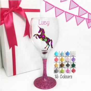 Unicorn Wine Glass 'Name'