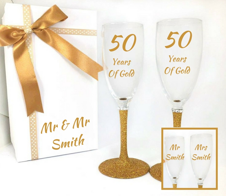 golden wedding anniversary glasses
