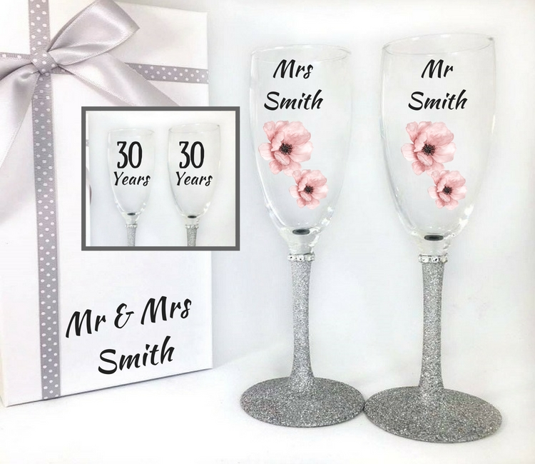 30th wedding anniversary glasses