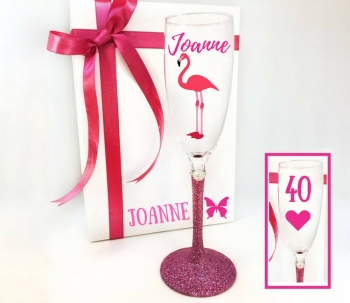 40th Champagne Glass Flamingo