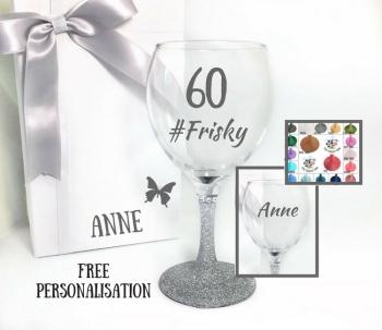 60th Wine Glass