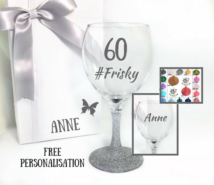 personalised 60th birthday glass