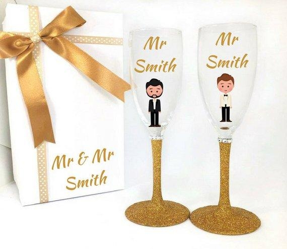 gay wedding anniversary glasses