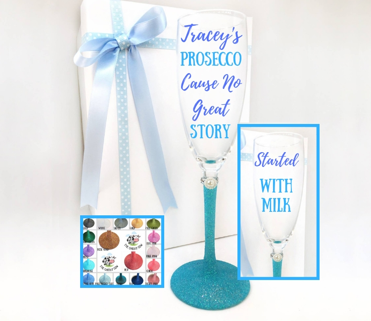 prosecco glasses personalised