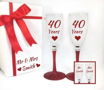 Ruby Wedding Anniversary Glasses