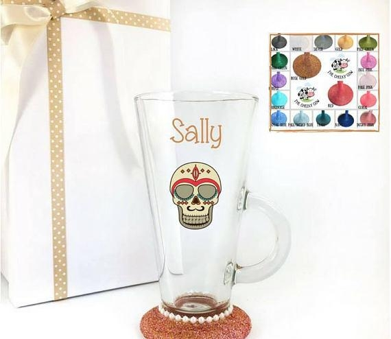 Sugar Skull Glass Mug