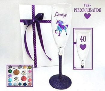 40th Champagne Glass Unicorn