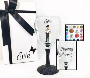 Woman Cop Wine Glass