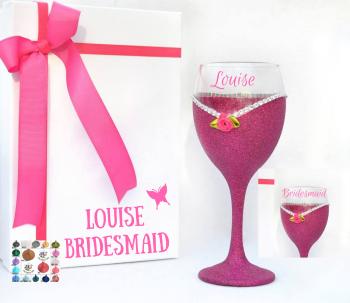 Thank You Bridesmaid Glitter Dress Wine