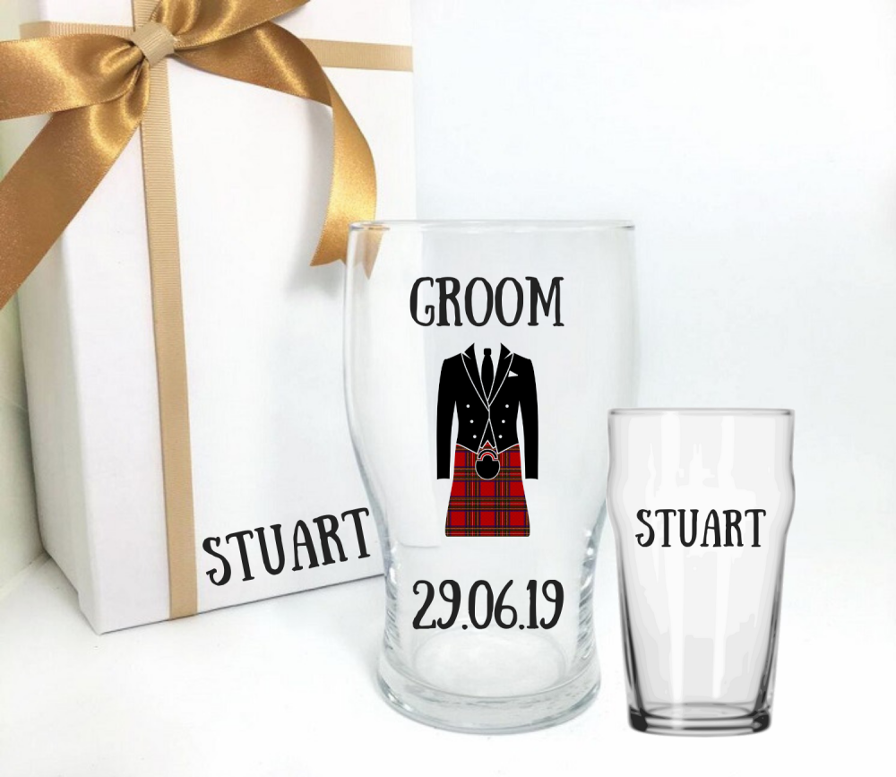 personalised scottish groom pint glass