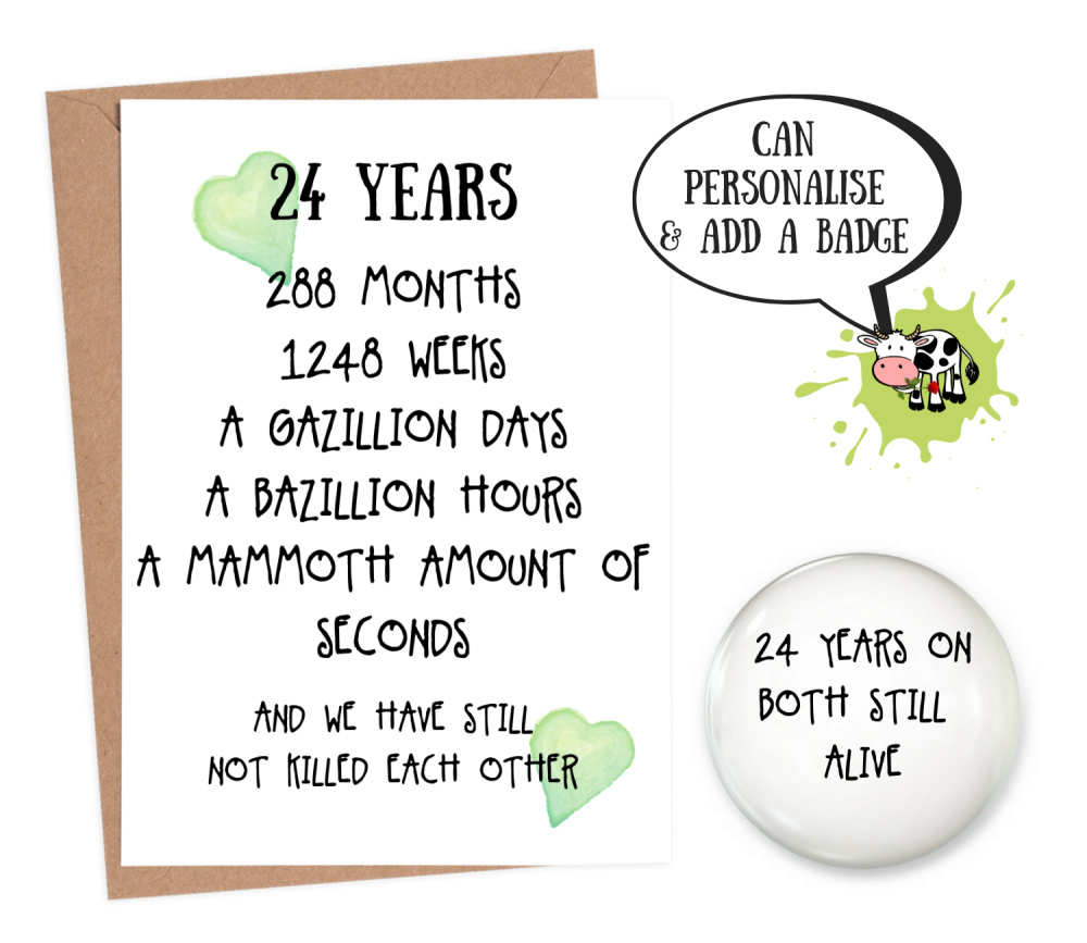 24 year anniversary card funny